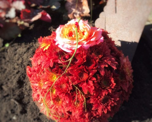 Chrysanthemenblüten-Kugel mit Rose